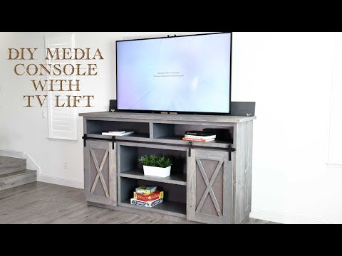 How to Build a DIY Farmhouse Media Console with a TV Lift