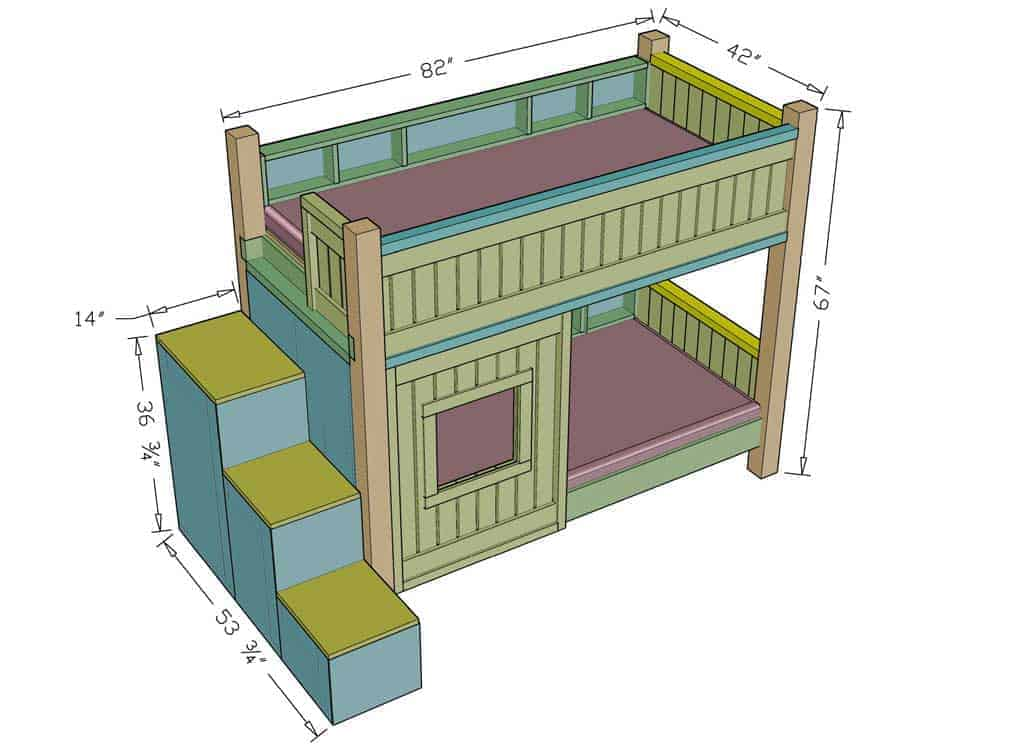 How To Build A Diy Bunk Bed With Stairs Thediyplan