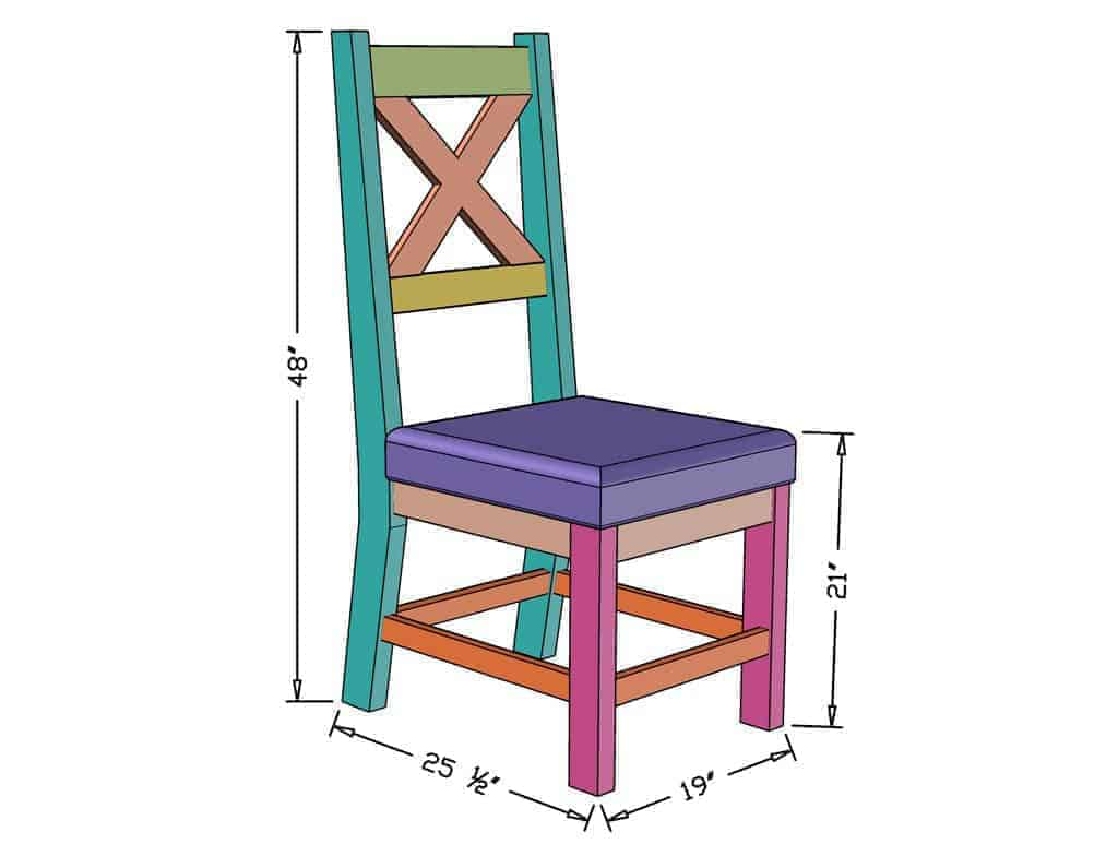 DIY Farmhouse Chair dimensions
