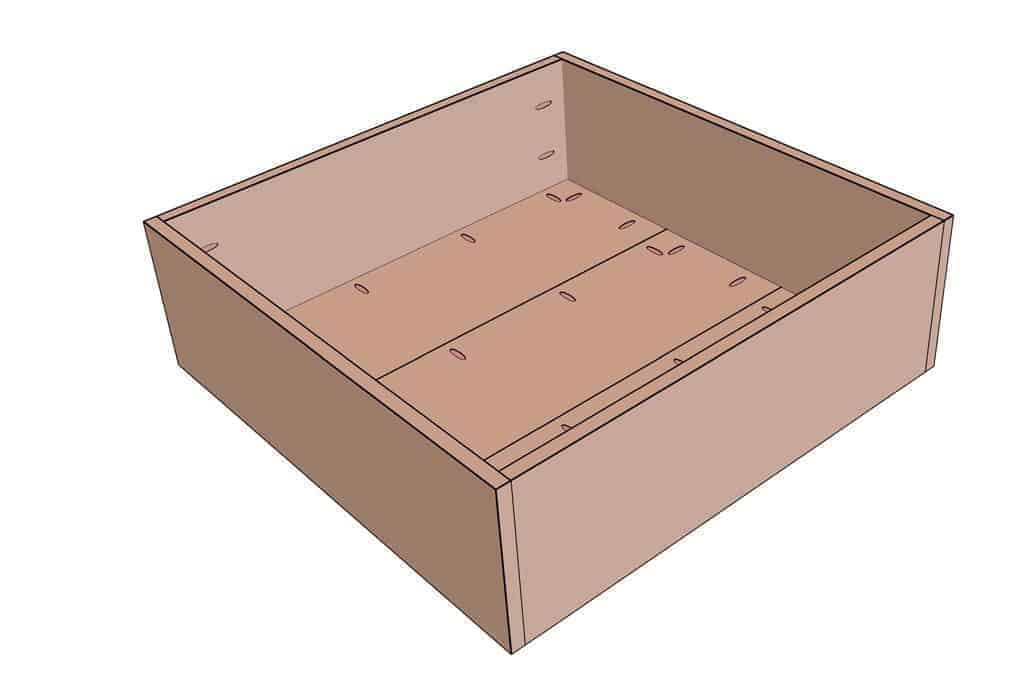 lower section of the DIY Square Coffee Table