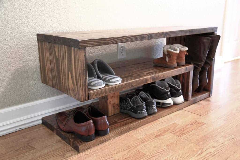 How To Build A Shoe Rack Bench For Entryway Thediyplan
