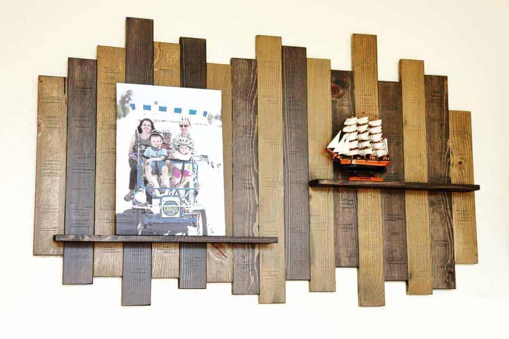 DIY wall decor with shelf