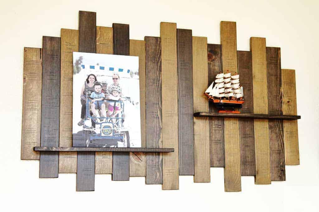 DIY wall decor with shelf
