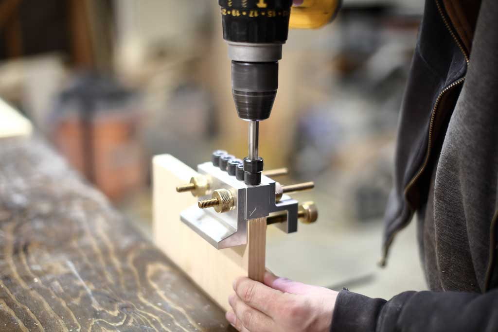 Drilling holes with a Dowelmax for DIY Offsetting Shelf