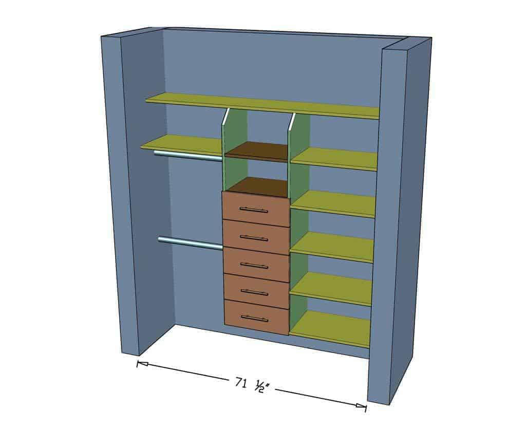 DIY Closet Organizer with Drawers dimensions