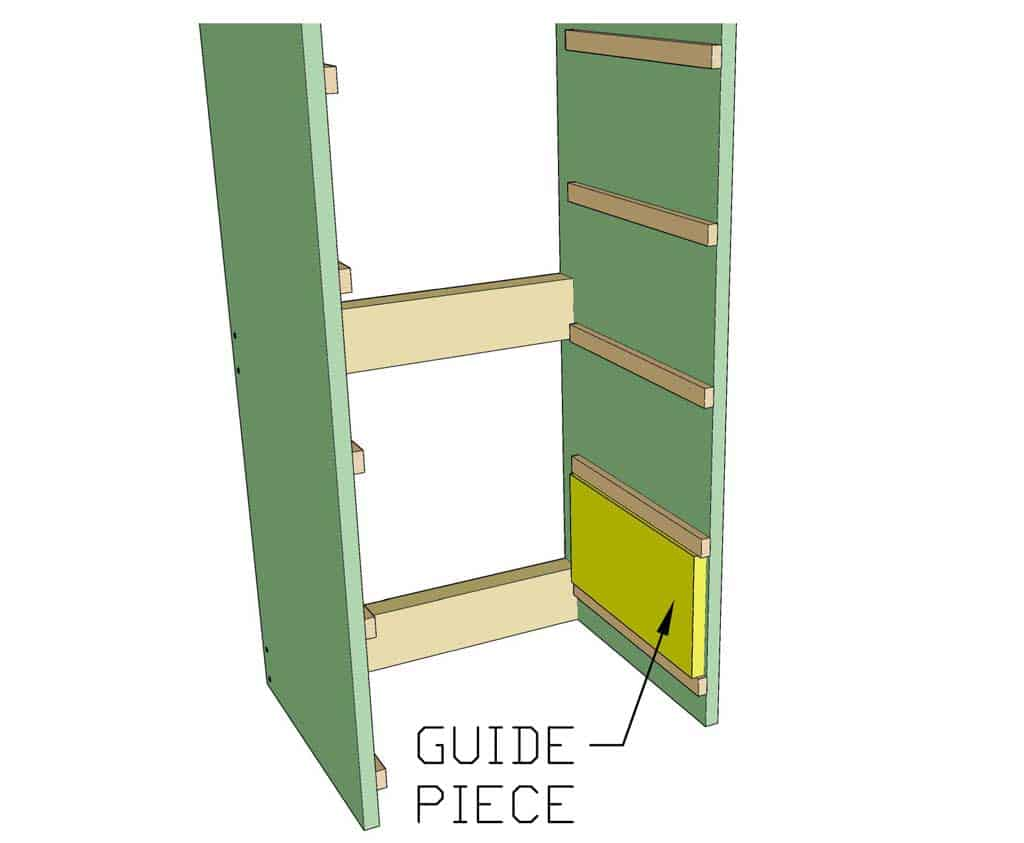 attaching drawer rails for DIY closet organizer