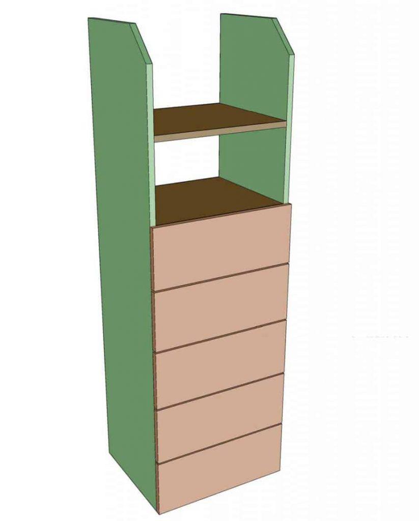 installing drawers for DIY closet organizer