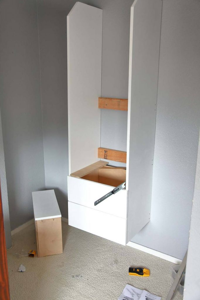 install drawer slides for the DIY Closet Organizer with Drawers