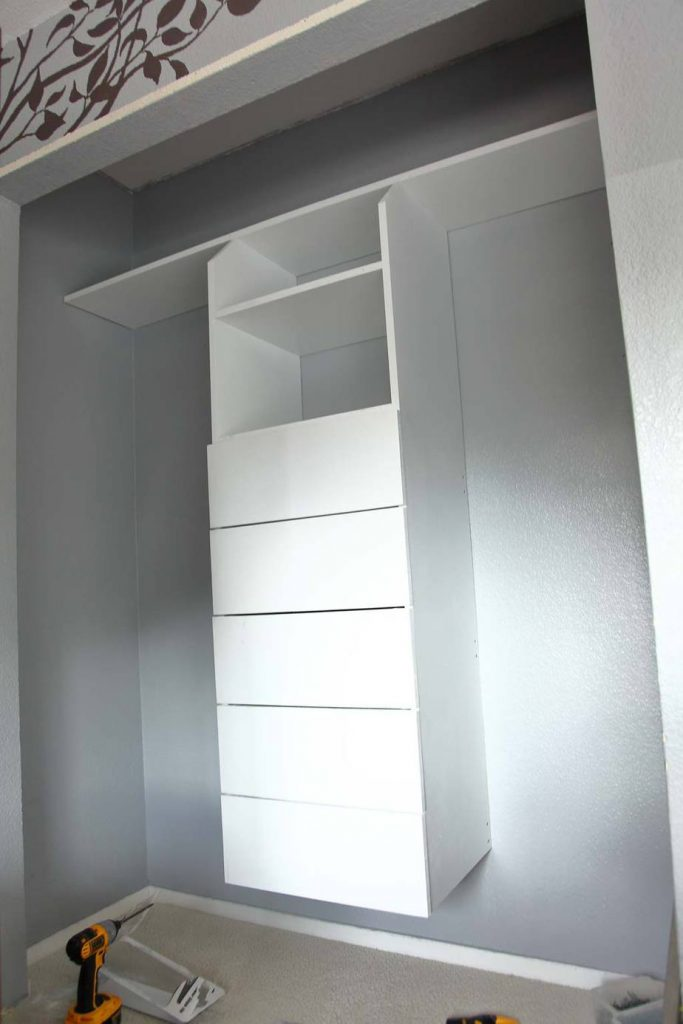 insert all drawers for the DIY Closet Organizer with Drawers