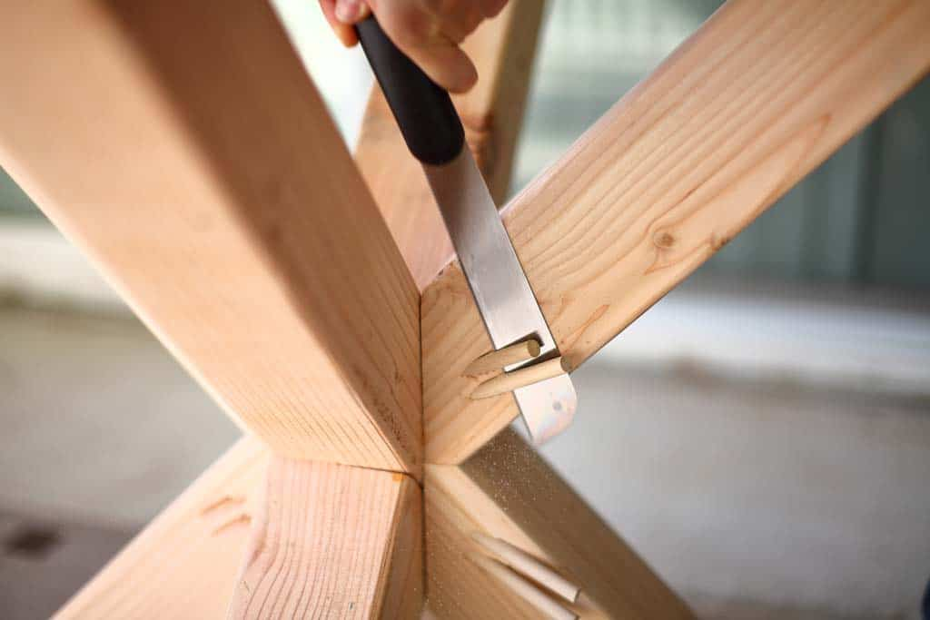 cutting dowel to cover pocket holes