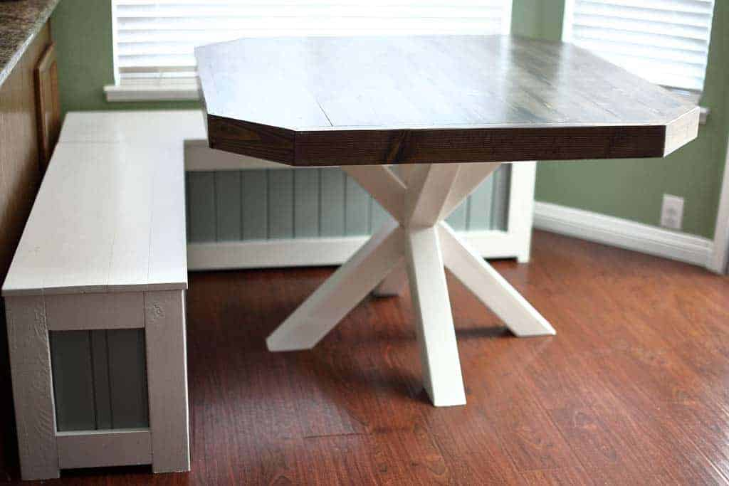 How To Build A Diy Dining Table With Cross Legs Thediyplan - How To Attach Table Legs Diy