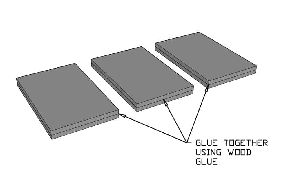 gluing plywood together for DIY Cloud Toilet Paper Storage