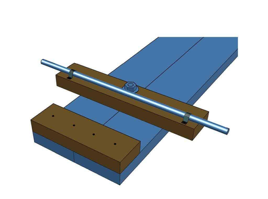 attach threaded rod to steering of DIY Wood Go-Kart