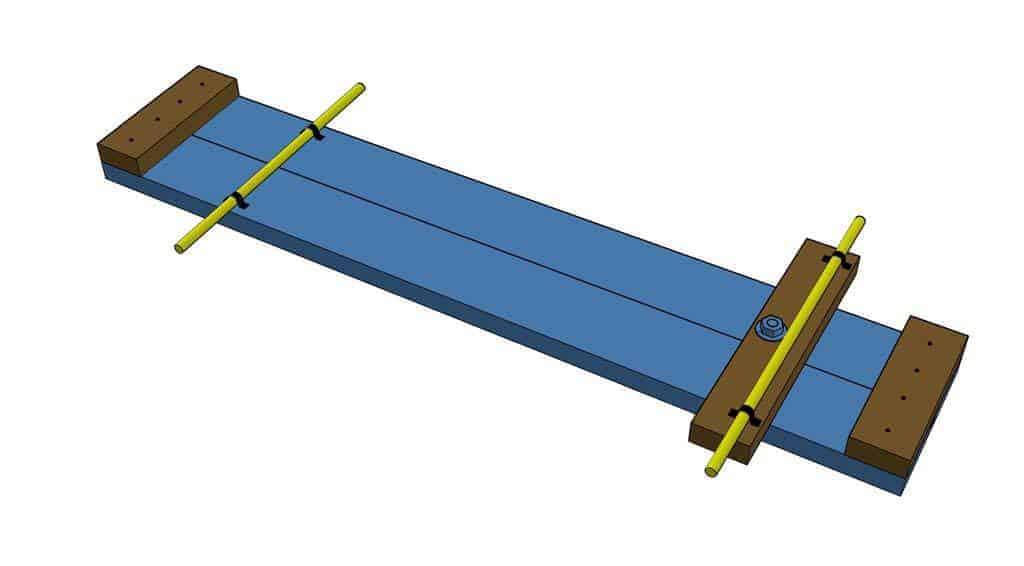 attach threaded rods for DIY Wood Go-Kart