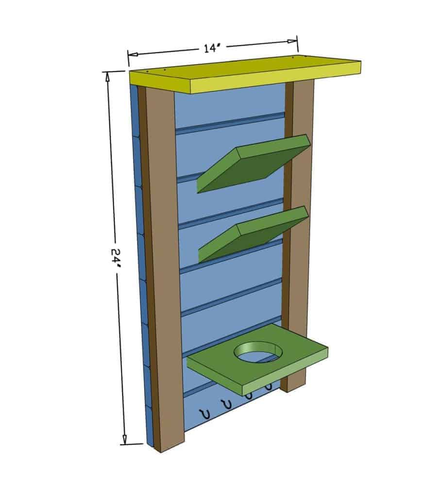 DIY Mail and Key Organizer  dimensions