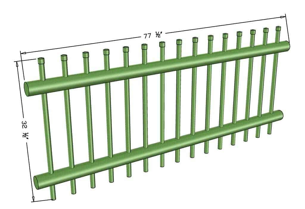 DIY PVC Pipe Patio Railing dimensions