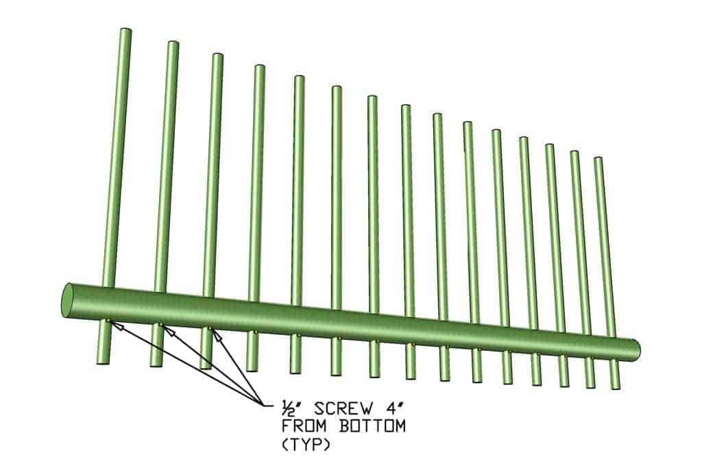 inserting bottom rail for DIY PVC Pipe Patio Railing