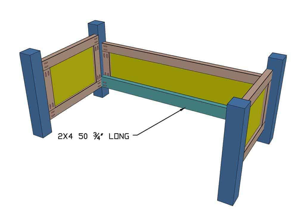 installing 2x4 frame slat support for DIY Toddler Bed