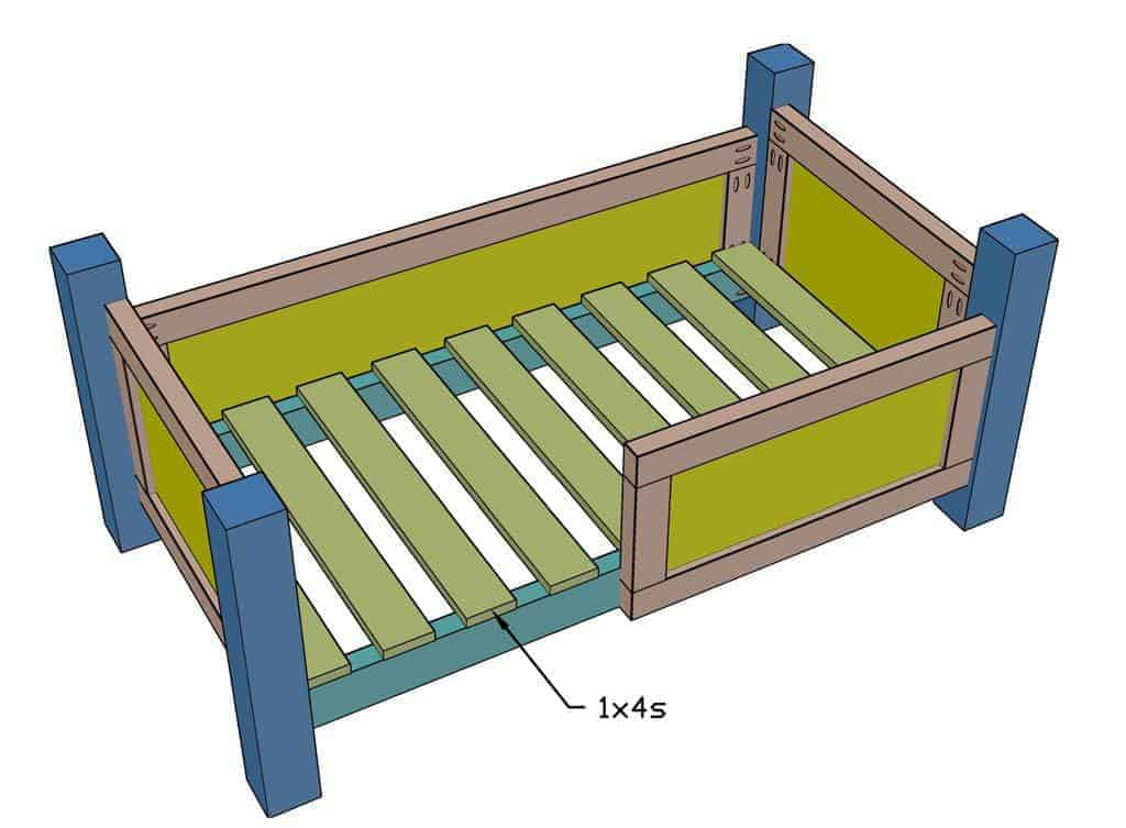 installing frame slats for the mattress