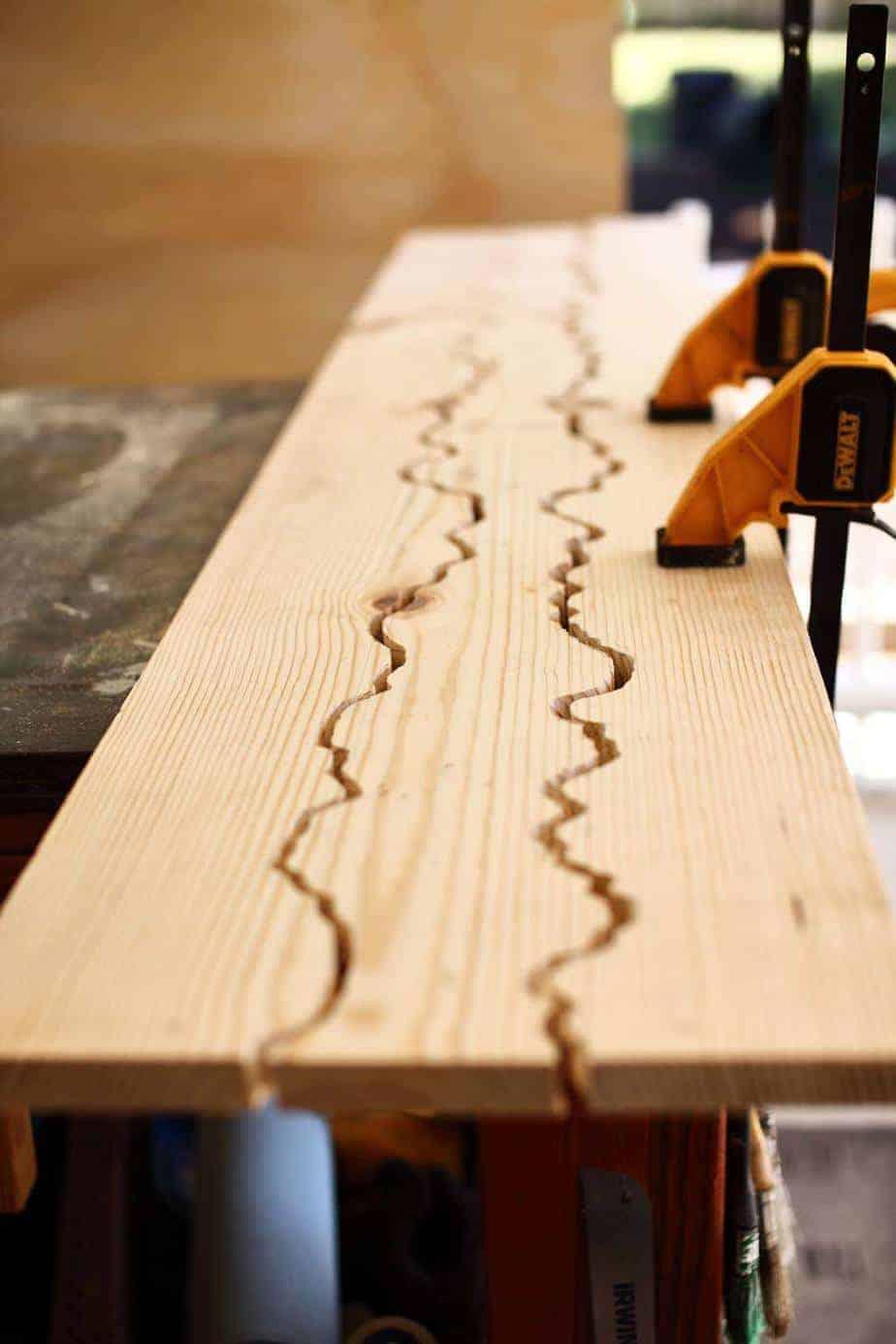 cutting wood for DIY Live Edge Mirror