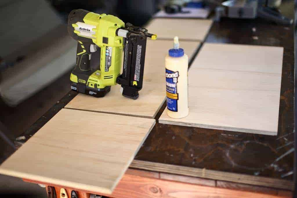 attaching the drawer box together for bench