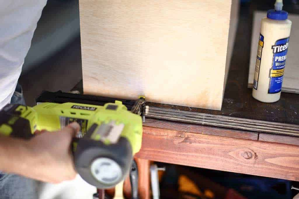 using nail gun to attach drawer boxes