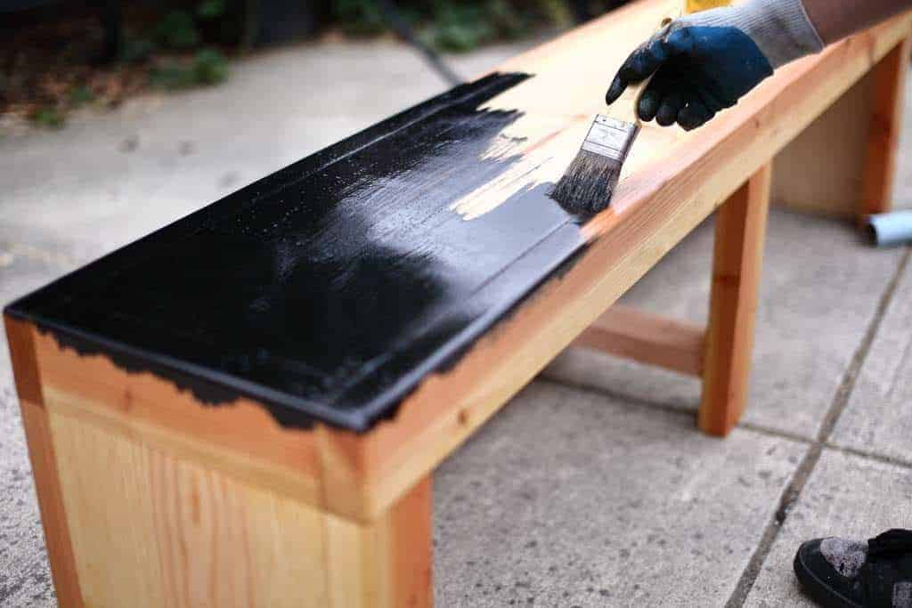 staining DIY Bench with Storage