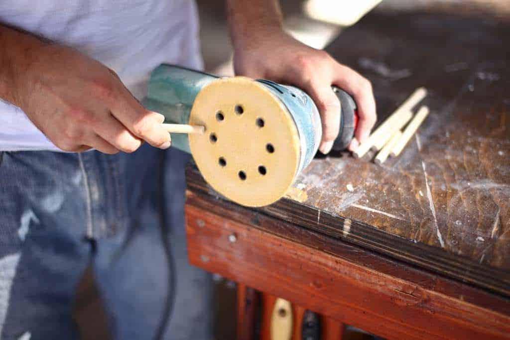 sanding dowel tips