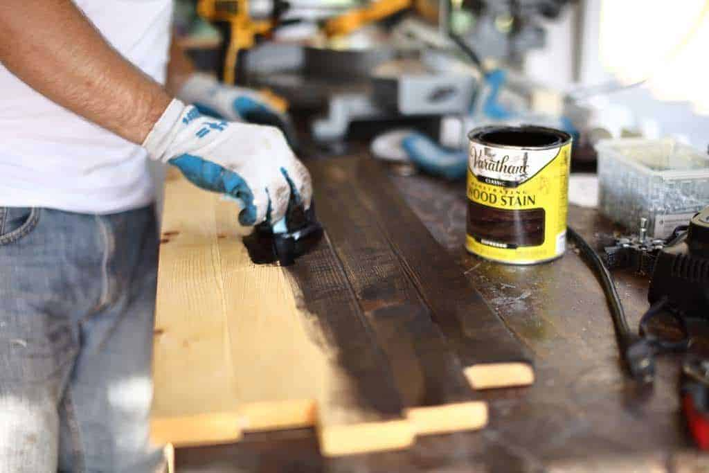 staining wood for diy rustic kitchen sign