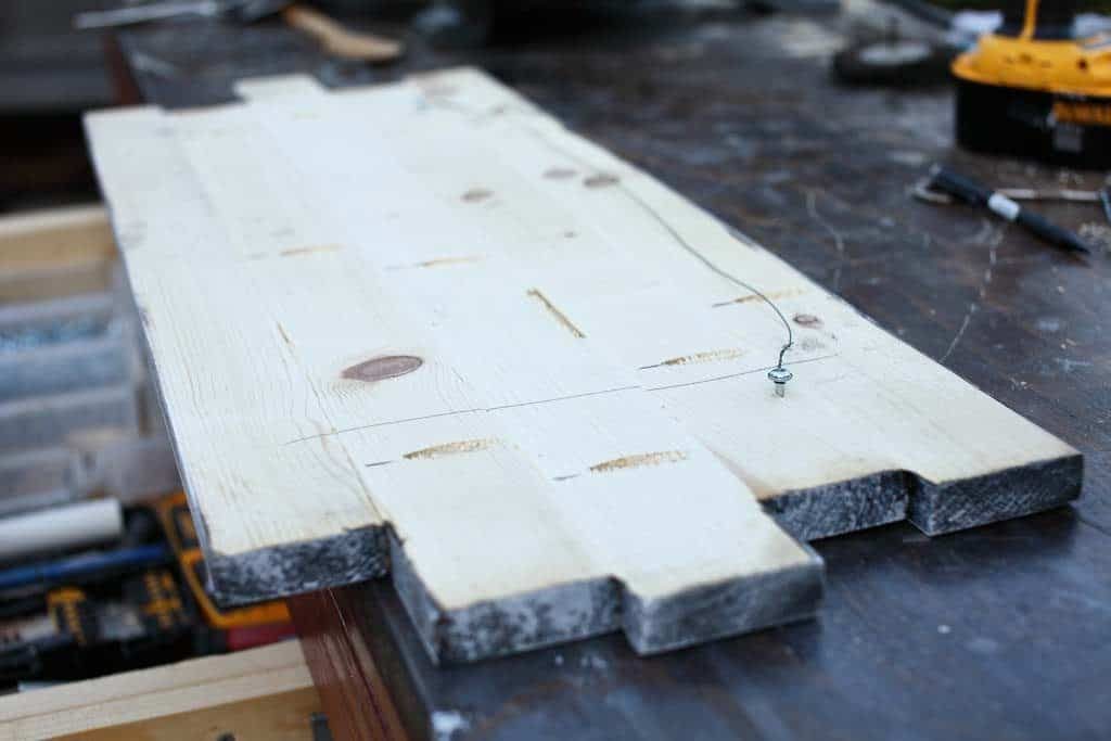 drilling pocket holes in to create a kitchen sign