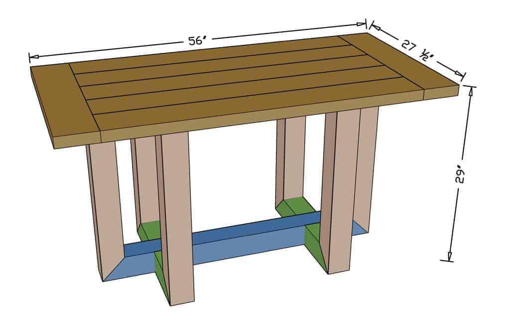 DIY Breakfast Table dimensions