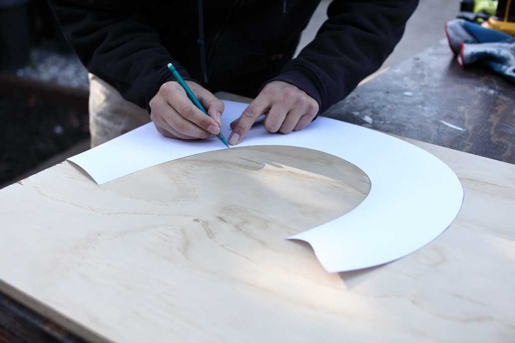tracing over the template for DIY Fruit Storage Container