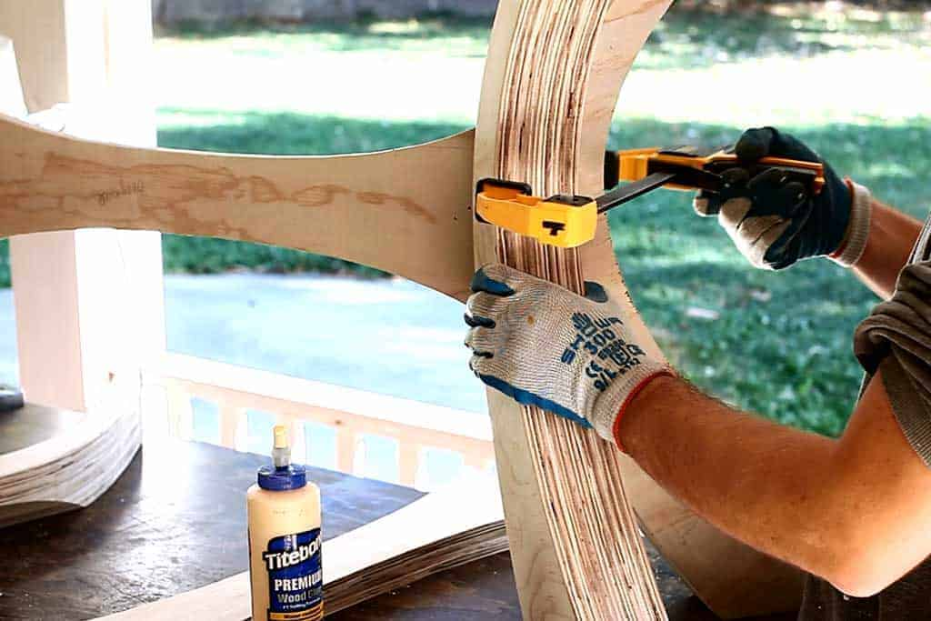 gluing legs togehter for DIY Kitchen Table with Epoxy