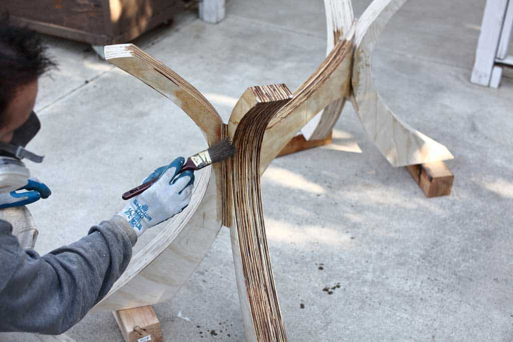 staining legs for DIY Kitchen Table with Epoxy
