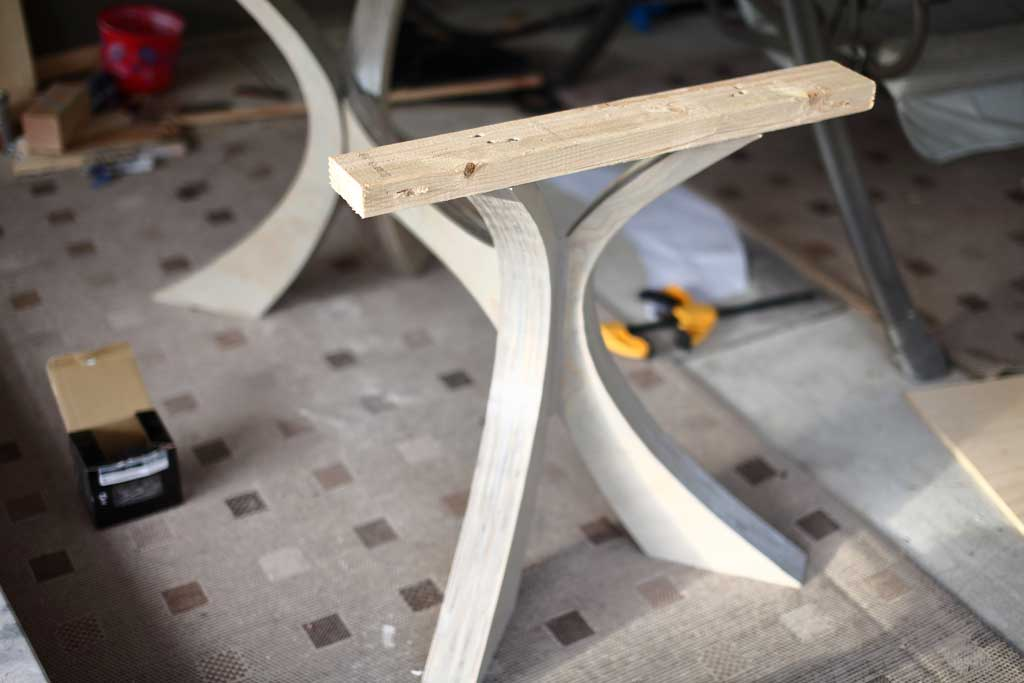 attaching 2x4 support on top of legs