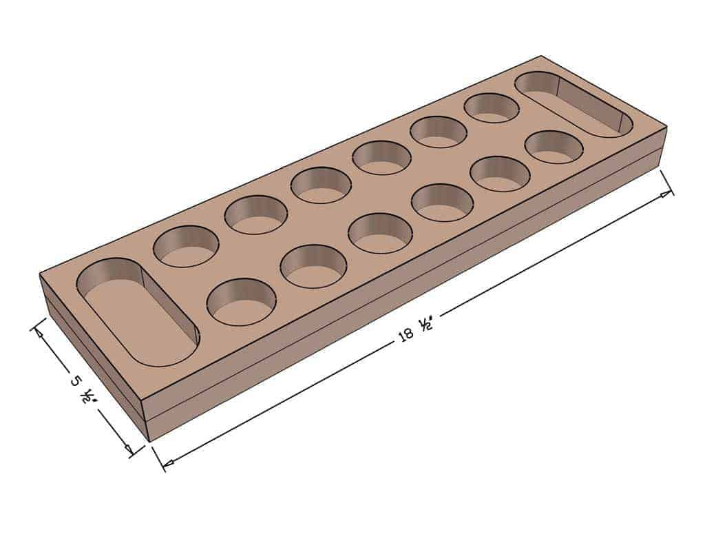 DIY Mancala Board Game dimensions