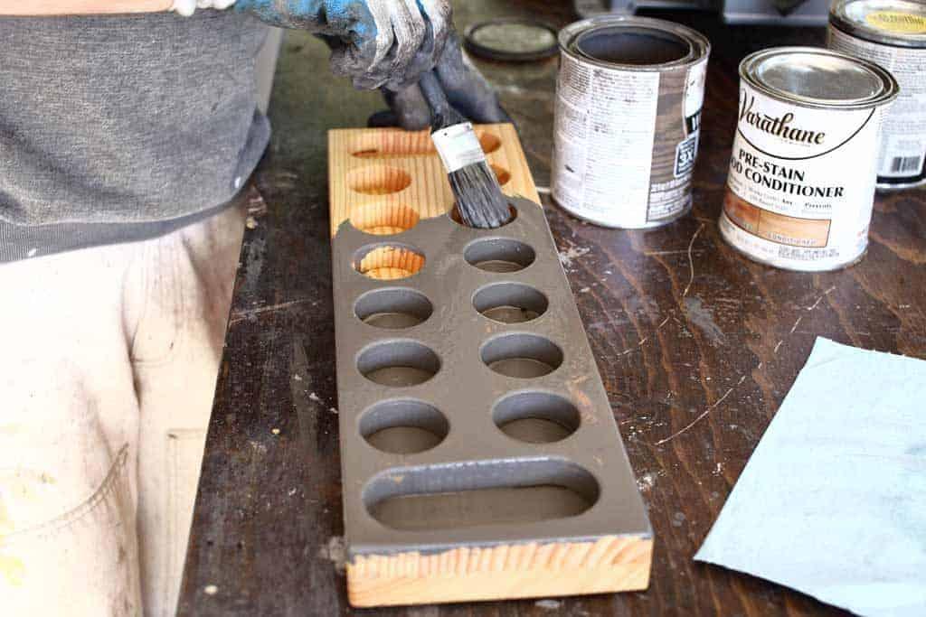 staining DIY Mancala Board Game
