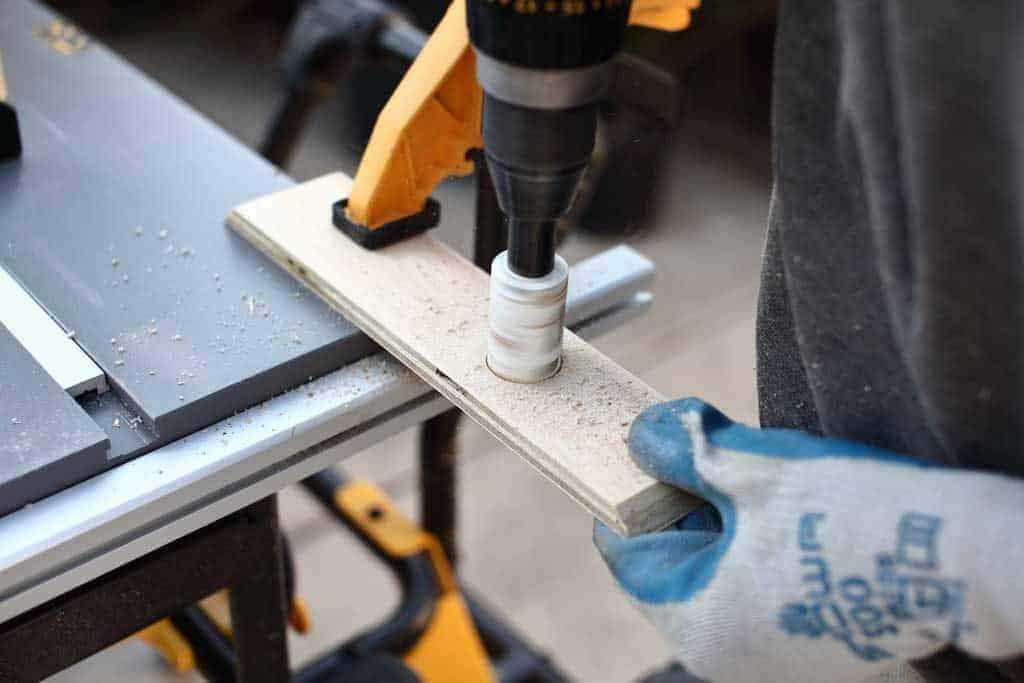 drill holes for napkin holder