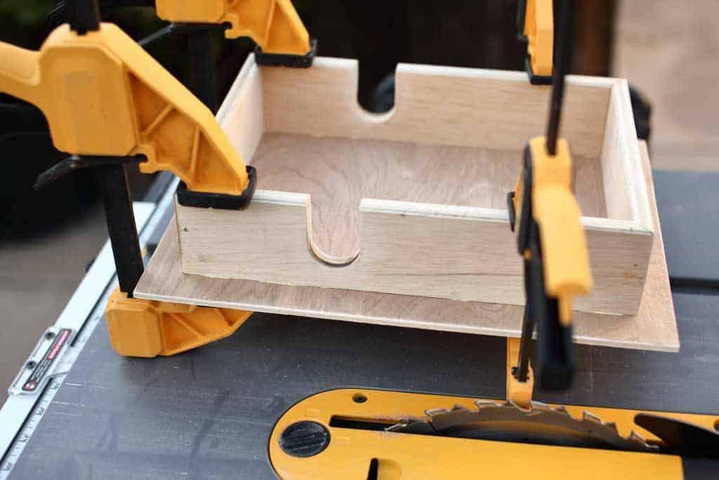 glue napkin holder pieces together