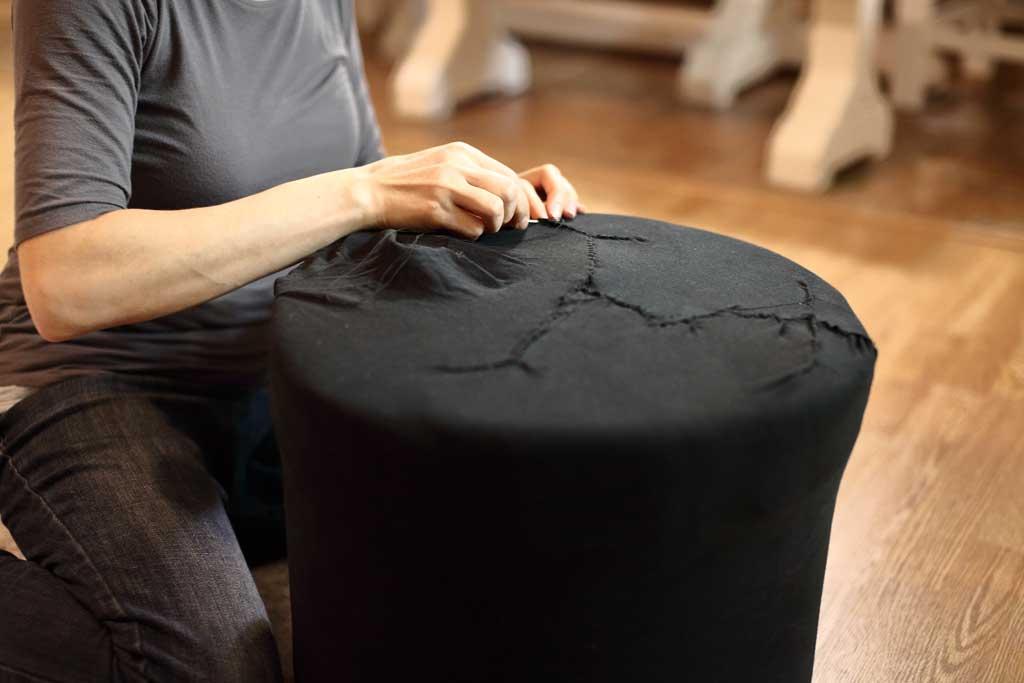 stitching fabric for DIY Ottoman Pouf
