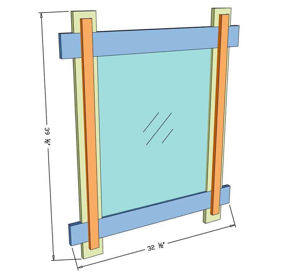 DIY mirror Frame for Entryway dimensions