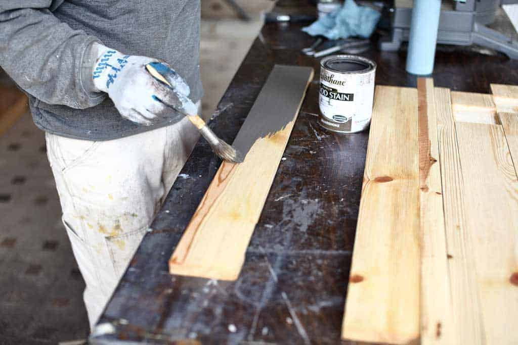 staining DIY mirror Frame for Entryway