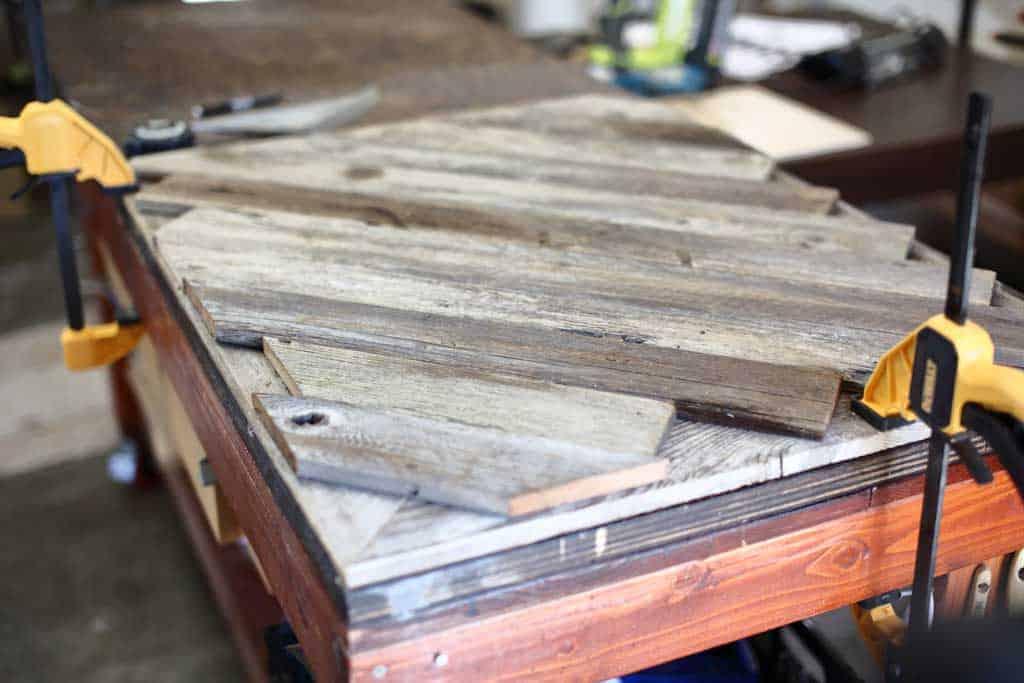 back side of the DIY Reclaimed Wood Frame Sign
