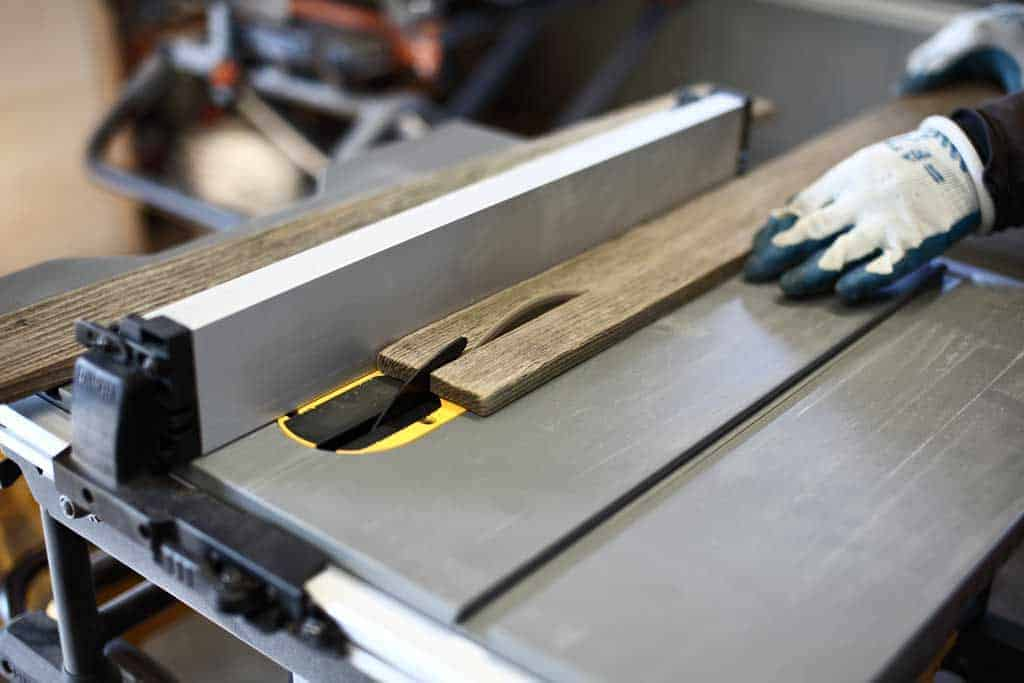 cutting reclaimed wood on the table saw