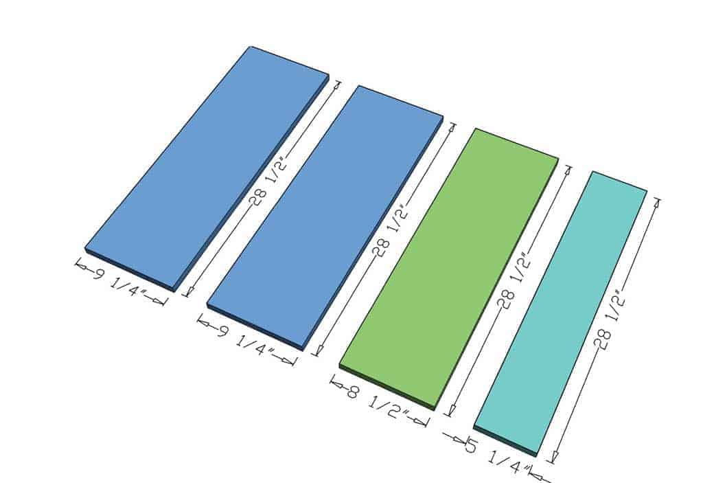 shelf dimensions for the DIY Curved Shelf