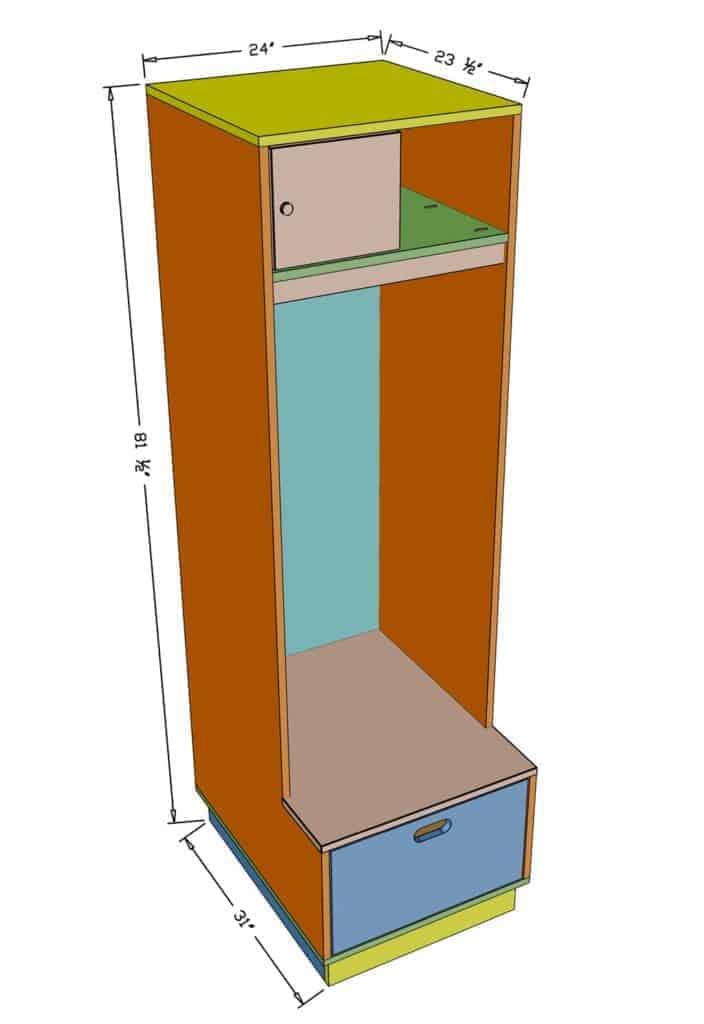 DIY Mudroom Locker dimensions