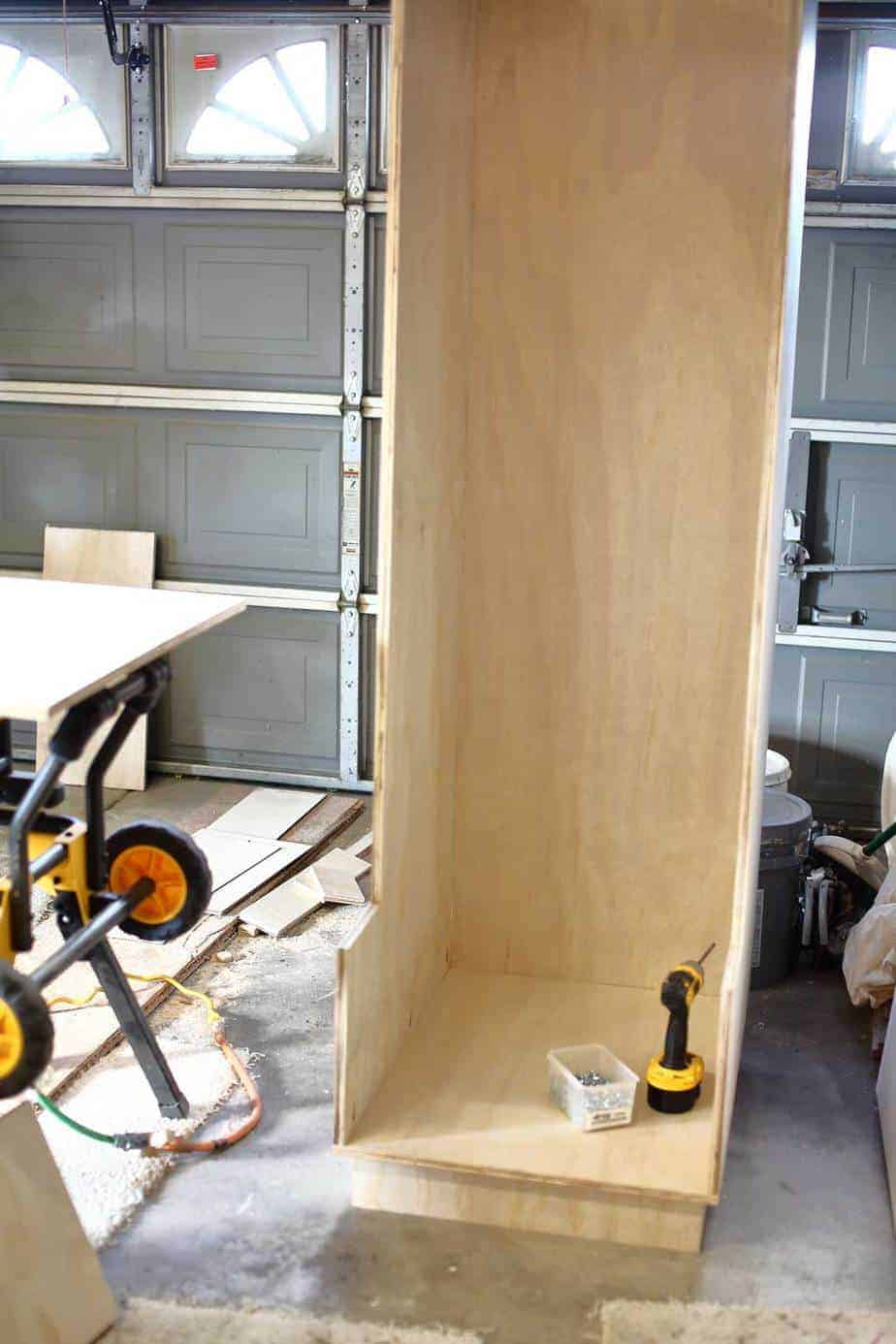 attaching sides and back board for DIY Mudroom Locker