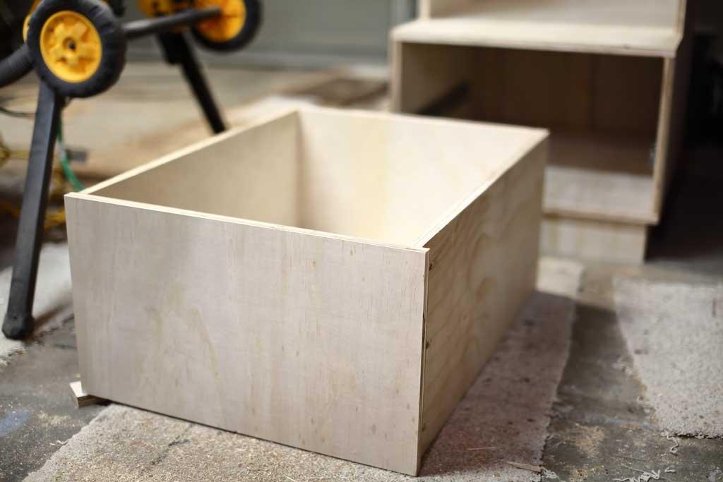 drawer box for DIY Mudroom Locker