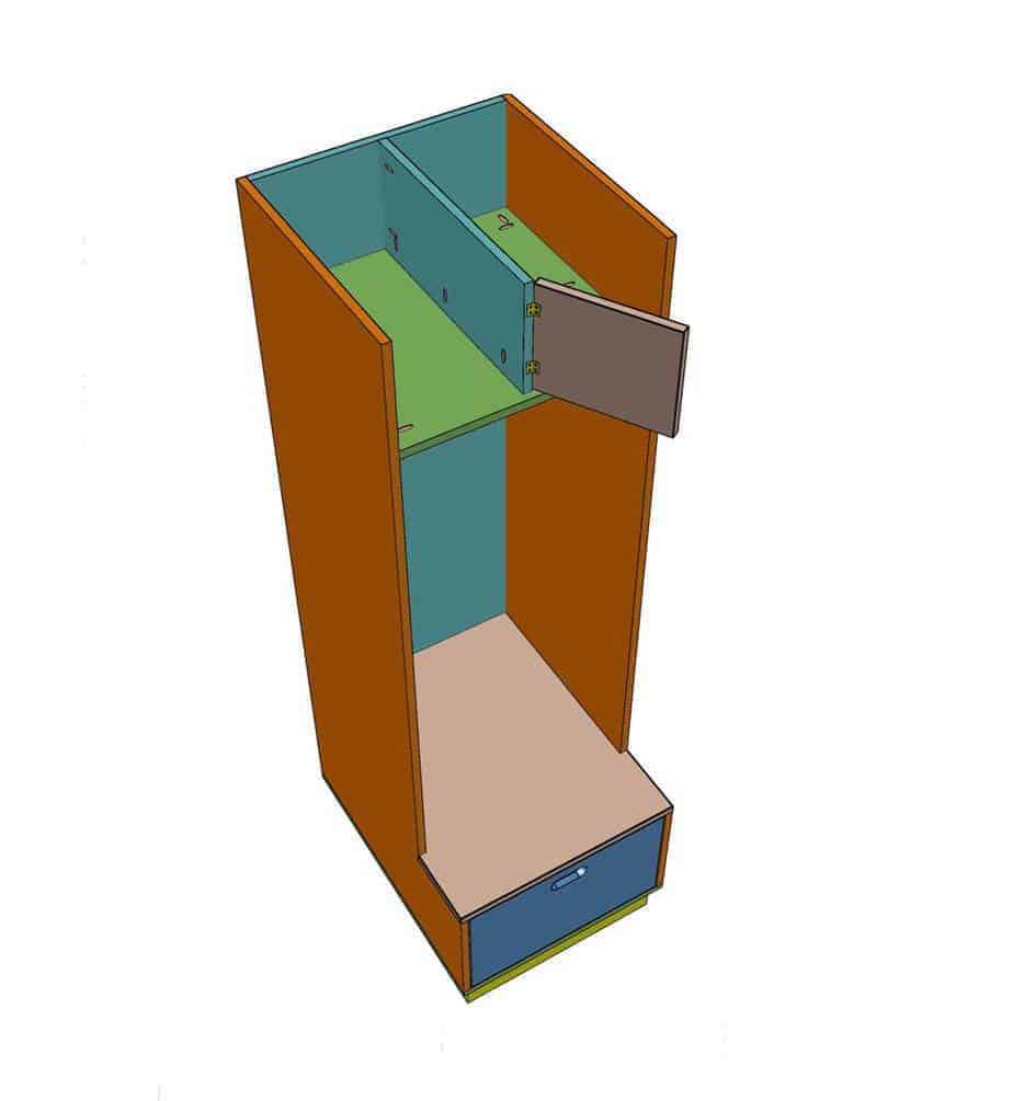 install shelf divider for DIY Mudroom locker