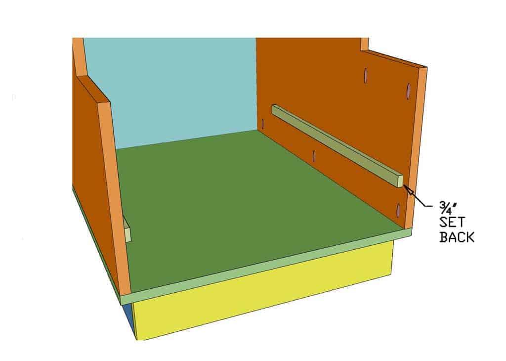 installing drawer slider inside the DIY Mudroom Locker